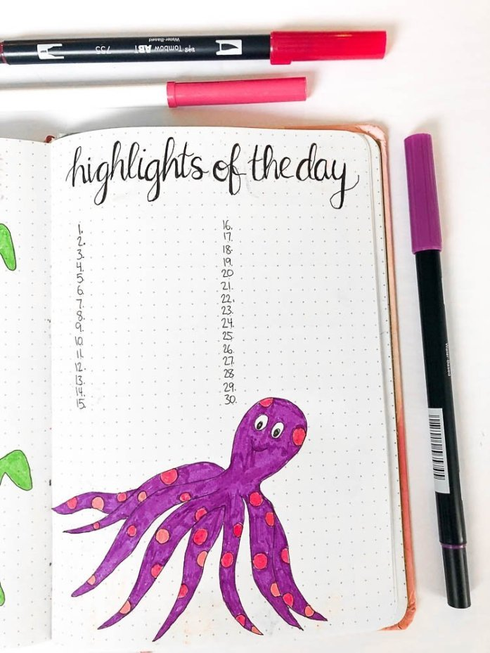 Bullet journal highlights of the day page