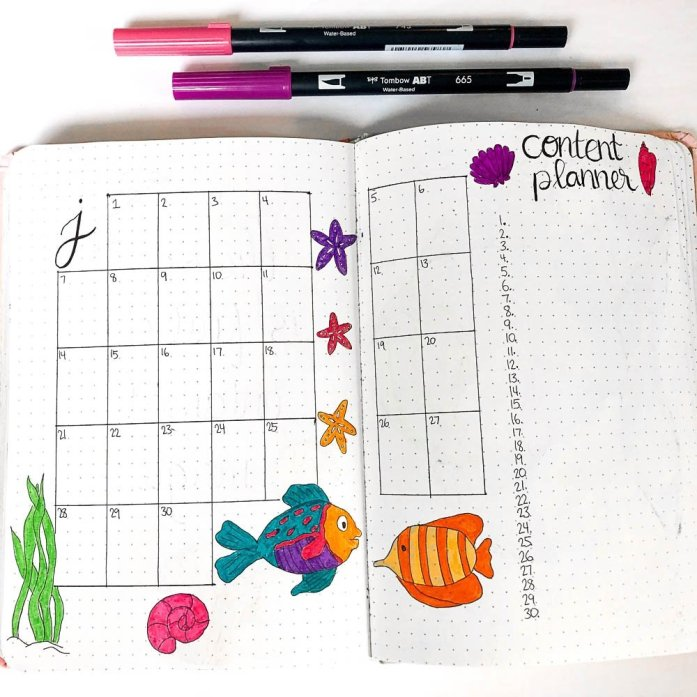 Bullet Journal June Monthly Calendar
