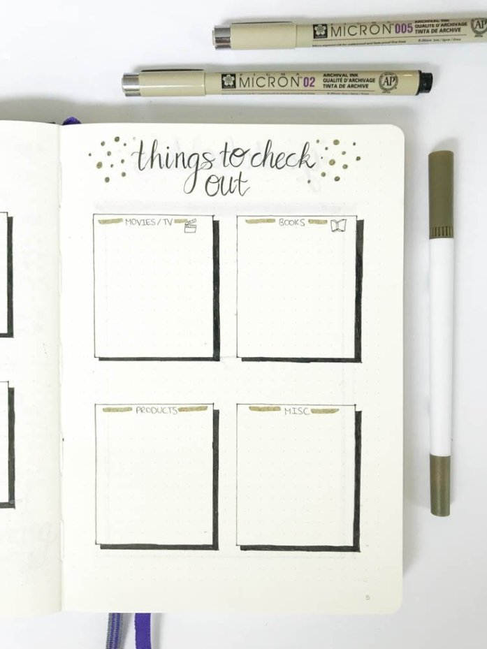 bullet journal things to check out page