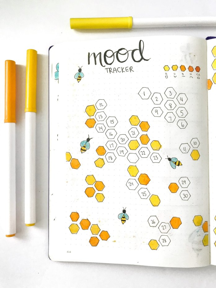 bullet journal monthly mood tracker with honeycomb theme