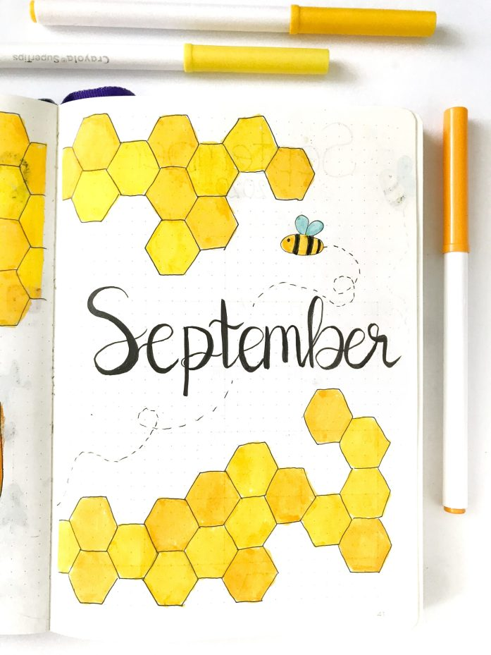 Bullet Journal September cover page with honeybee theme