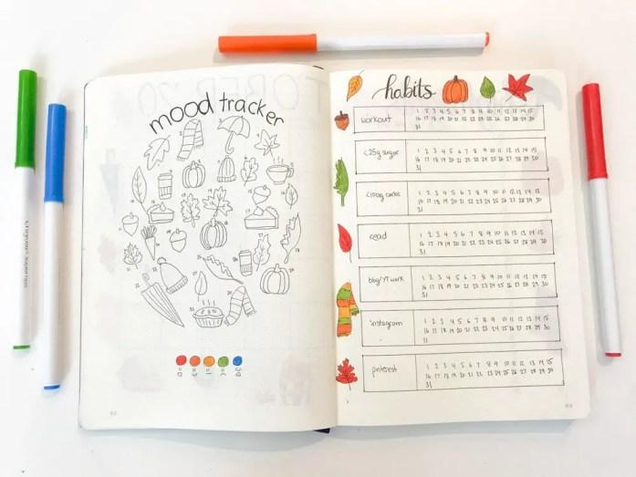 bullet journal fall mood tracker and habit tracker