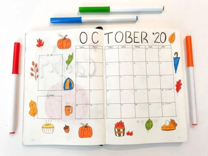 October bullet journal monthly calendar