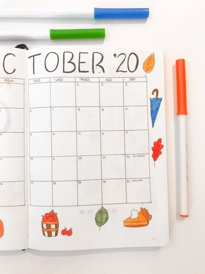 October bullet journal monthly calendar