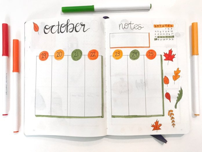 October bullet journal weekly layout