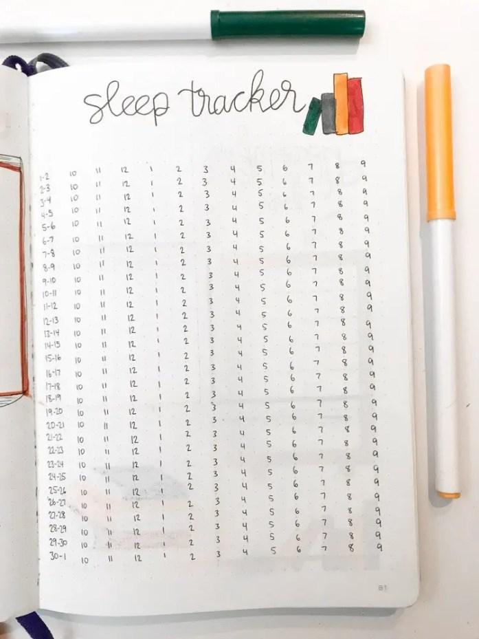 november bullet journal sleep tracker