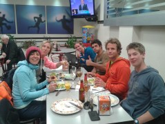 Dinner in Palau with Barbara, Isabel, Moritz, Roger, Pita and his girlfriend