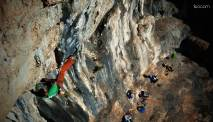 Riding the nice tufa,middle part of the crux section - picture by Leonardo Comelli