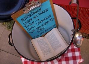 Werbung für die Suppenlesungen des Forums junger Autorinnen und Autoren