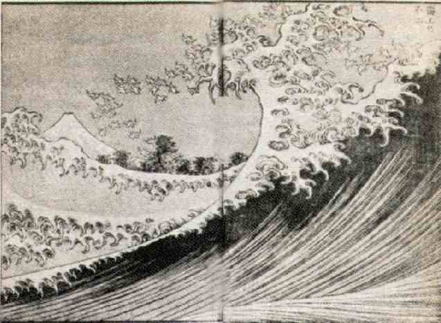 """""""Fuji seen from the sea,"""" colored woodblock print by Hokusai, from """"One Hundred Views of Mt. Fuji,"""" Vol. 2 (1834)"""
