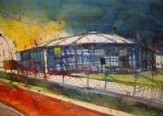 Arena auf Schalke Gelsenkirchen - Aquarell von Andreas Mattern