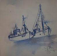 Boote auf Usedom - Aquarell von Andreas Mattern - 40 x 40 cm