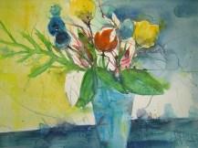 Blumen in türkisfarbender Vase - Aquarell von Andreas Mattern, 2005, 76 x 56 cm