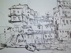 Marmaris Türkei -Zeichnung von Andreas Mattern - 56 x 76 cm - Tusche Aquarell auf Bütten