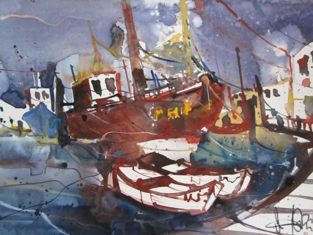 Braunes Boot - Aquarell von Andreas Mattern - 30 x 40 cm