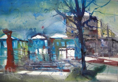 Kamen Rathaus - Aquarell von Andreas Mattern