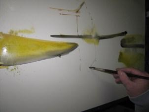 Die erste Anlage aquarelliere ich mit gelb