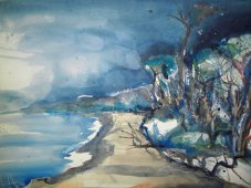 Prerow (Weststrand) Aquarell 56/76 cm, von Andreas Mattern