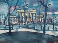 Berlin, Brandenburger Tor, Aquarell 56/76 cm, Andreas Mattern