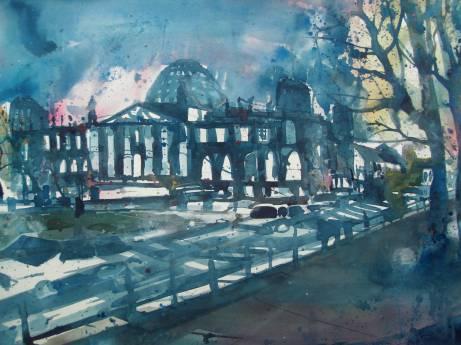 Berlin, Reichstag, Aquarell 56776 cm, Andreas Mattern
