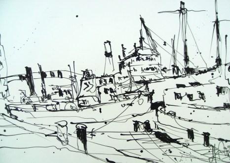 """Andreas Mattern """"Schlepper-Hamburg"""" Zeichnung 47/36 cm, 2012"""