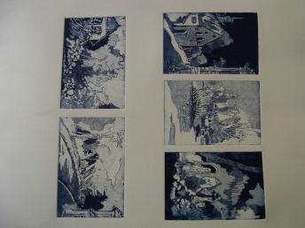 Fünf auf einen Streich, Ergebnis aus dem Radierkurs 2012, bei Andreas Mattern