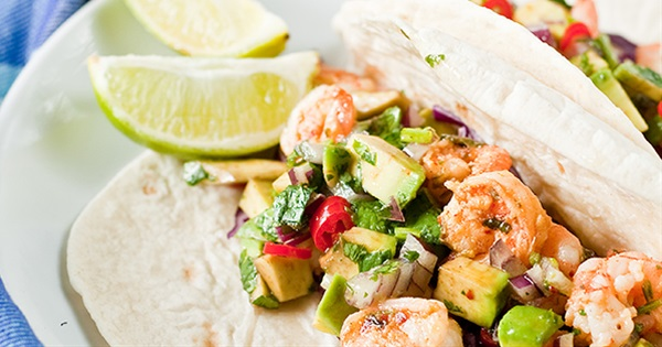 Shrimp Tacos With Chilli and Avocado Salsa