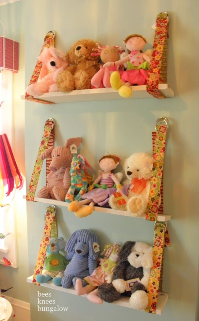 CUTE hanging shelves and tons of other great toy storage solutions