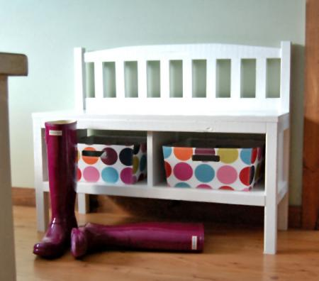 build a cottage bench with storage cubbies.
