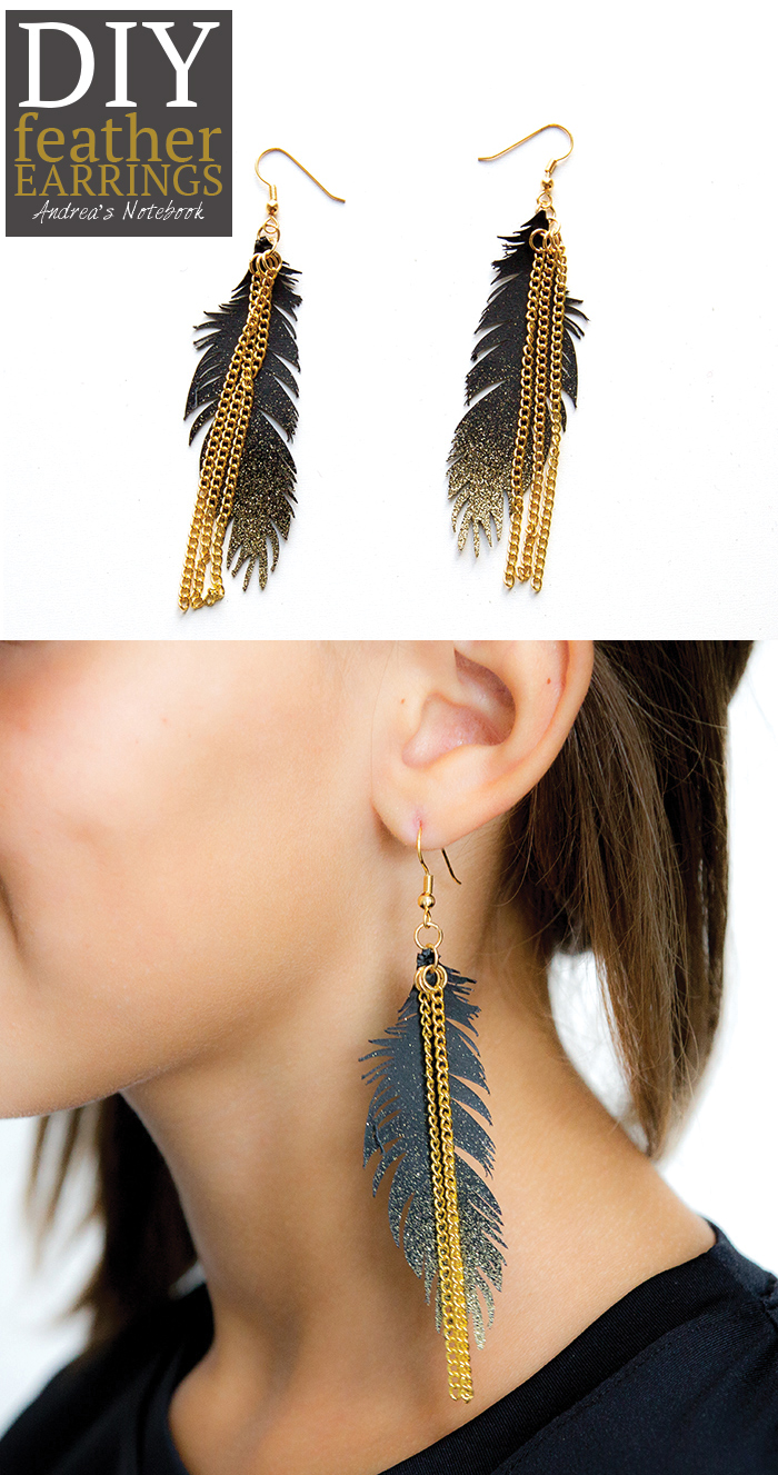 DIY feather earrings