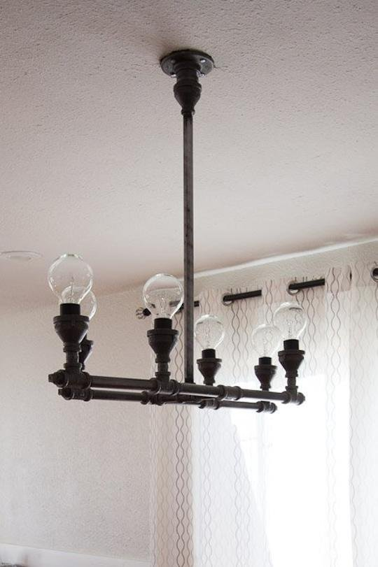 Rustic industrial pipe light fixture tutorial