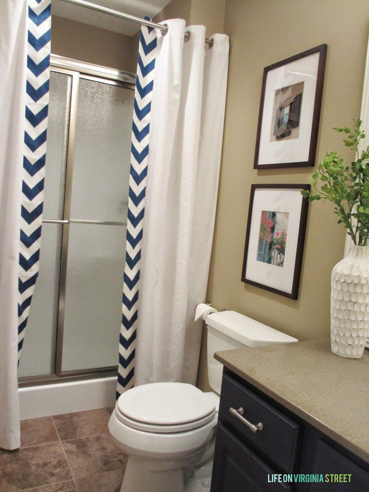 NO SEW shower curtain tutorial