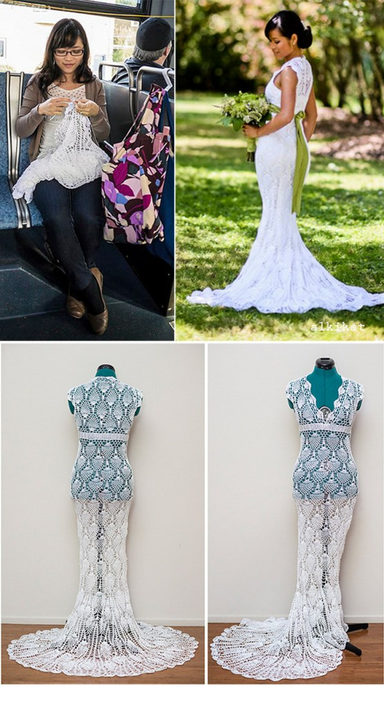Gorgeous crocheted wedding dress cost $30 to make!