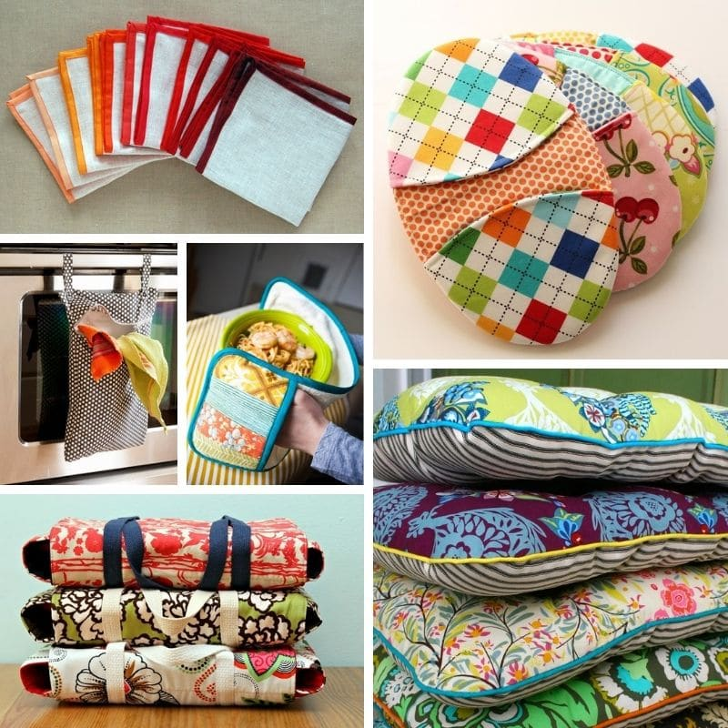 collage of things to sew for the kitchen - white napkins with colorful binding, potholders, casserole carriers, seat cushions, towel holders