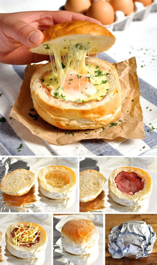 NO DISHES! ham, egg and cheese bowl
