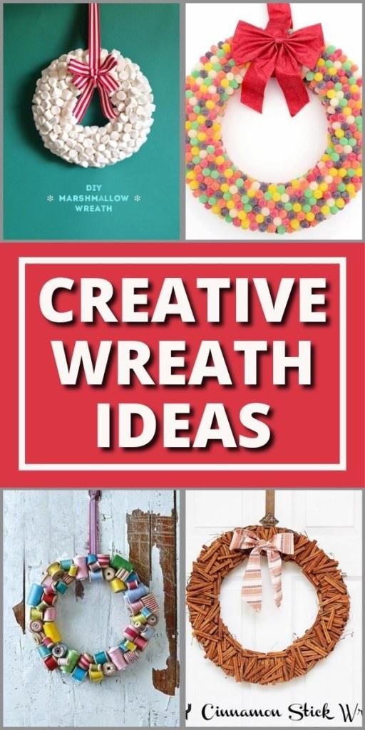 4 wreaths - a marshmallow wreath, gumdrop wreath, thread spool wreath, cinnamon stick wreath