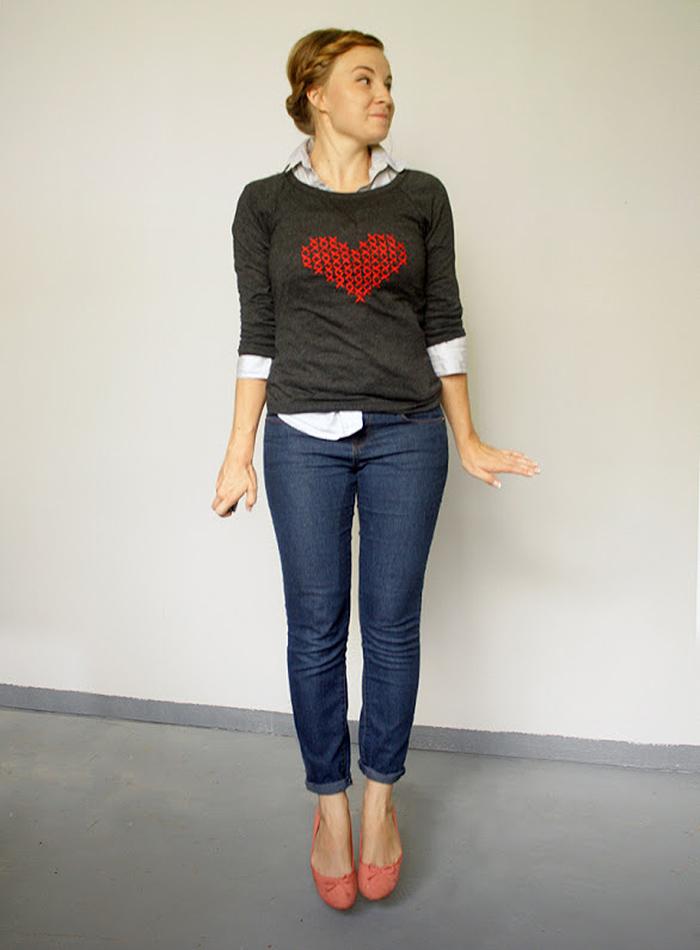 DIY Cross stitch heart sweater tutorial