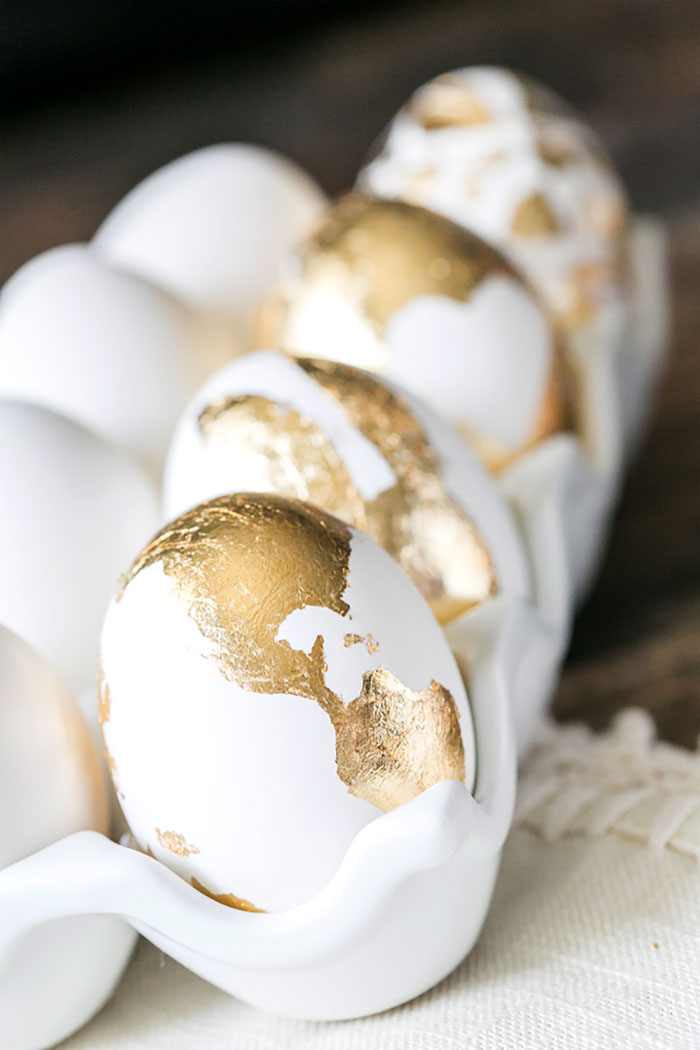 Learn how to gold foil leaf your eggs! Beautiful!