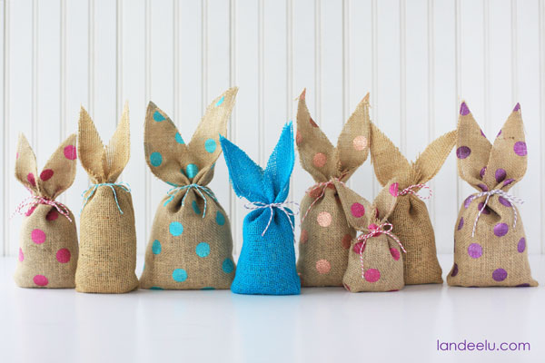 Easy to make bunny bags using burlap