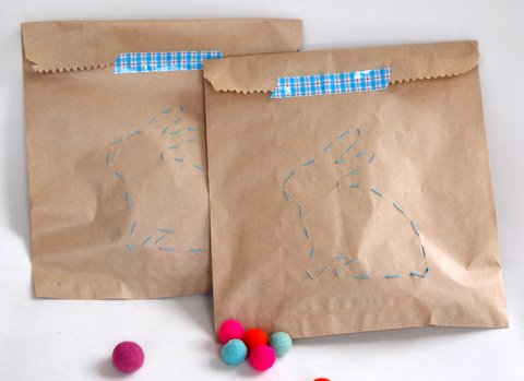 Bunny shape stitched on a paper bag