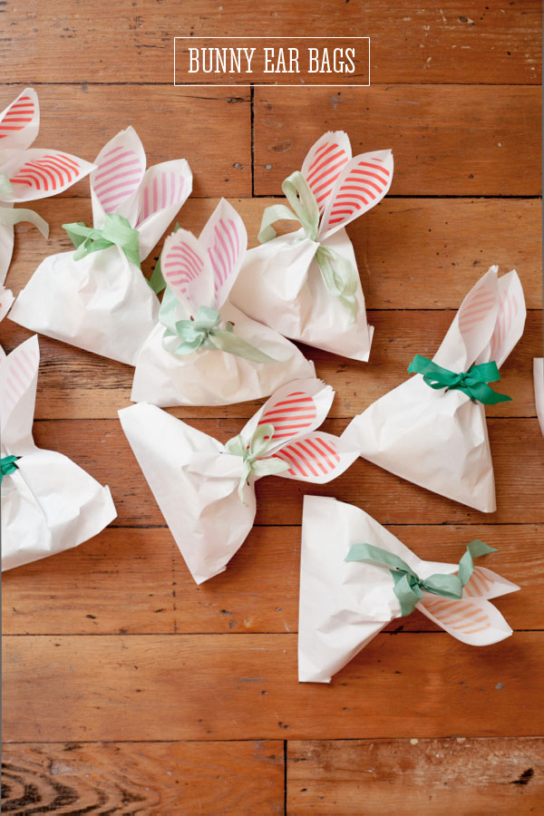 Paper treat bags with cut out bunny ears