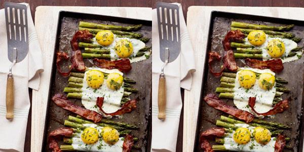 Eggs and bacon over asperagus