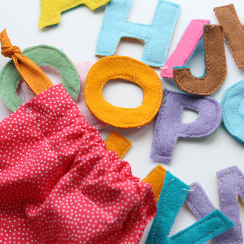 Fabric scrap alphabet and drawstring bag tutorial