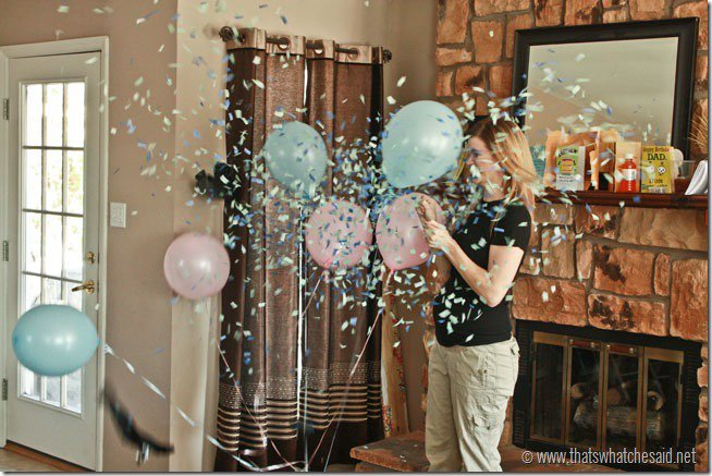 Pop a confetti balloon to reveal baby gender