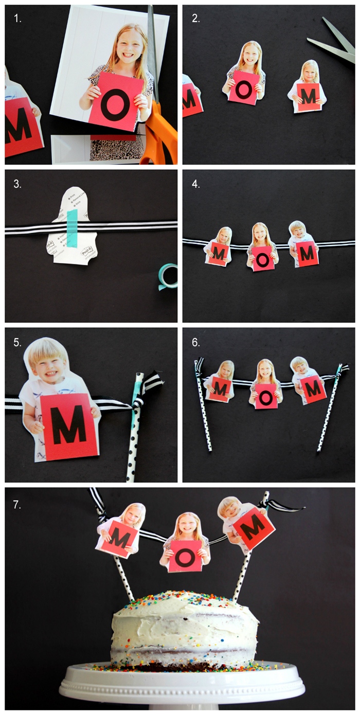 Make your Mom smile this Mother's Day with this easy photo cake bunting DIY