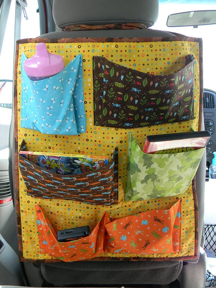 Make your own car seat back organizer