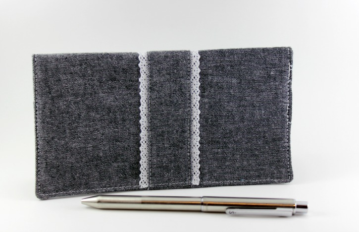 Checkbook cover in black chambray with lace trim
