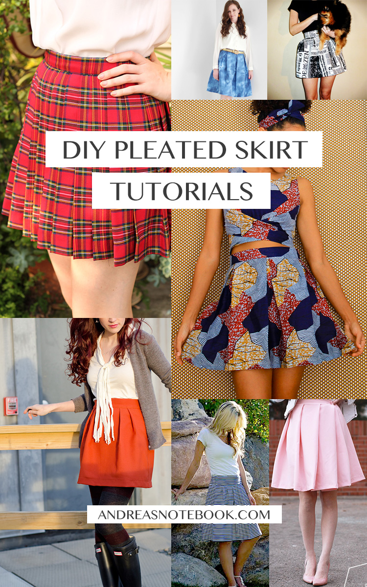 7 beautiful pleated skirt tutorials - SAVE