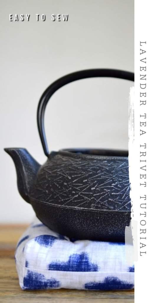 DIY lavender tea trivet black teapot fabric