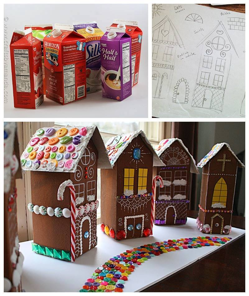 Upcycled Gingerbread Village